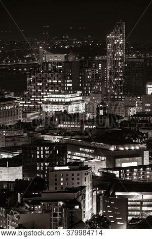 Liverpool skyline rooftop view  at night with buildings in England in United Kingdom