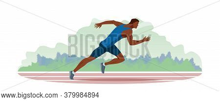Athlete Runs Along The Stadium Track. Jogging Train Of A Handsome Guy With Athletic Physique In Spor