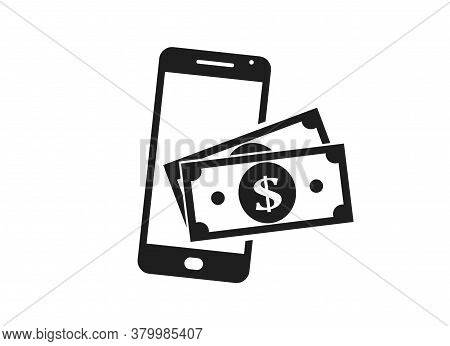 Mobile Phone Payment Icon. Dollar Bill On Smart Phone. Nfc Payment And E-wallet. Financial Symbols F