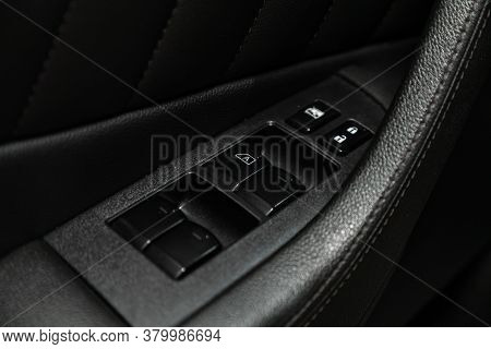 Novosibirsk/ Russia - August 01  2020: Infiniti Fx, Close Up Of A Door Control Panel In A New Modern