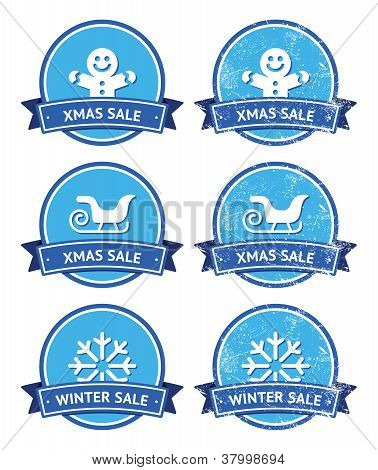 Christmas and winter sale retro labels