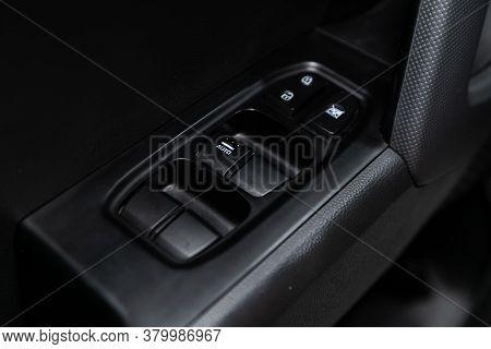 Novosibirsk/ Russia - August 01  2020: Hyundai Creta, Close Up Of A Door Control Panel In A New Mode