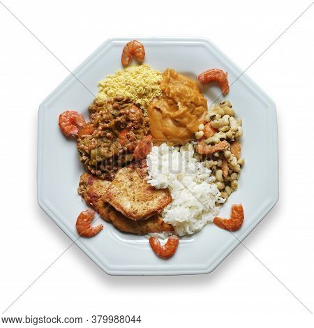 Food Plate With Caruru. Traditional Afro-brazilian Dish. Isolated On White Background