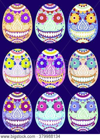 Bold Colors Calavera Set Stock Vector Illustration. Smiling Sugar Skulls Traditional Mexican Festiva