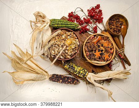 Mix Of Dried Fruits, Berries And Nuts. Dried Fruits In Wooden Bowl