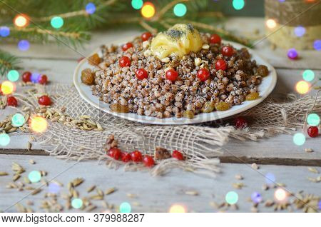 Christmas Dish Made Of Wheat Grains And Candied Fruit. Wheat And Berry Pudding For Christmas.
