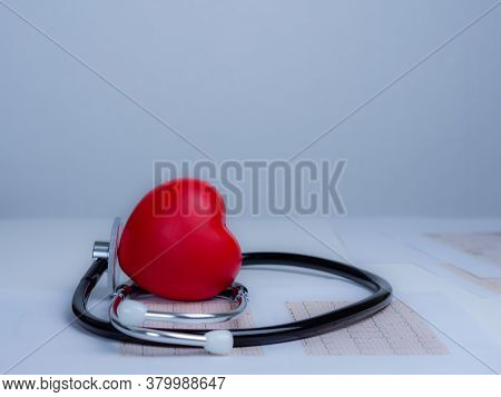 Red Heart With Stethoscope On White Back Ground, Heart Health, Heart Disease, Health Insurance Conce