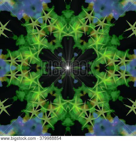 Green And White Supernova Star Blinking Digital Illustration, Geometric Abstract Colorful Kaleidosco