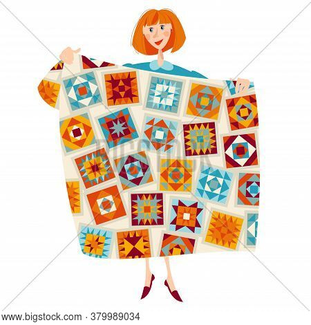 A Woman Holds A Multi-colored Quilt. Patchwork. Quilting. Vector Illustration.