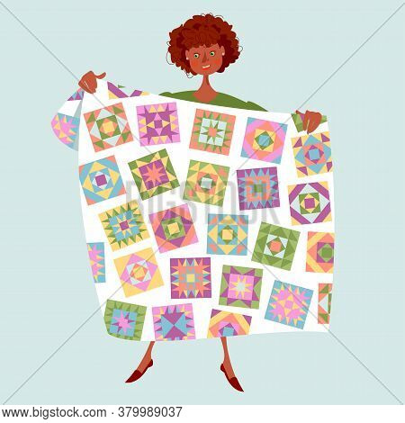 African Woman Holds A Multi-colored Quilt. Patchwork. Quilting. Vector Illustration.