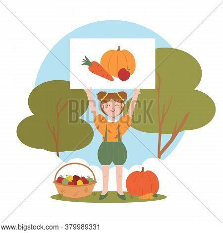 Smiling Little Girl Holds Poster With Painting Vegetables. Gathering Harvest At The Farm. Gardener P