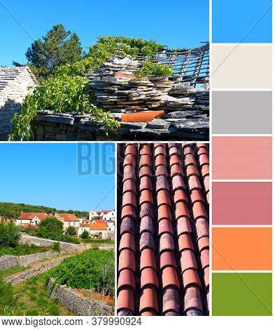 Color Matching Palette From Outdoor Architecture In Croatia.natural Blue, Green And Earth Color Shad