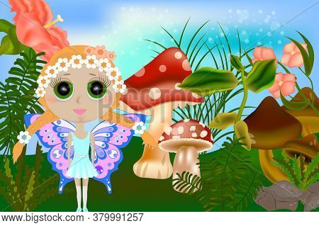 Bright Fantasy Illustration A Small Fairy And Mushrooms. Fantasy Landscape With Mushrooms And Flower