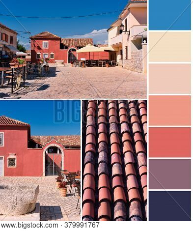 Split Complementary Color Matching Palette From Traditional Houses And Red Tiles Under Blue Sky In C