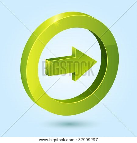 Green right arrow symbol isolated on blue