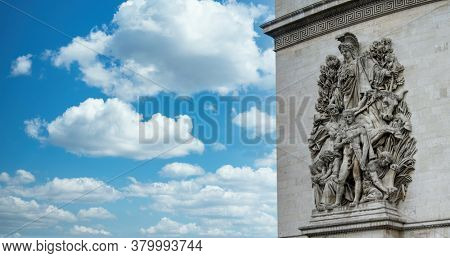 Arc de Triomphe also called Triumphal Arch of the Star architectonic detail is a landmark in Paris, France