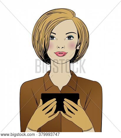 A beautiful woman holding a modern smartphone. Avatar of a young blonde. Vintage engraving stylized as drawing