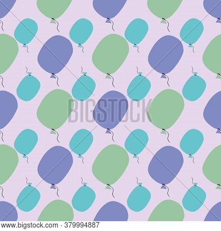 Purple Green And Blue Baloons Seamless Vector Pattern. Birthday Themed Surface Print Design For Fabr