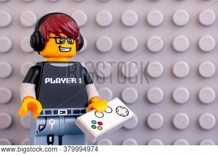Tambov, Russian Federation - June 04, 2020 Portrait Of Lego Video Game Guy Minifigure With Gamepad A