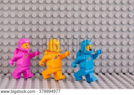 Tambov, Russian Federation - June 04, 2020 Three The Lego Movie 2 Astronaut Minifigures Going One Af