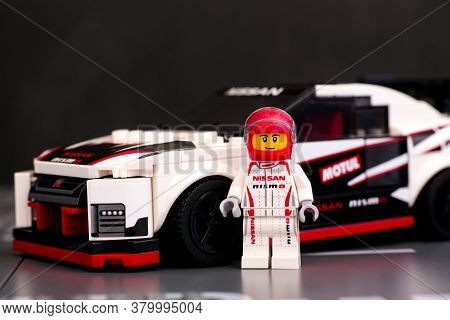 Tambov, Russian Federation - June 25, 2020 Lego Nissan Gt-r Nismo Driver Minifigure With His Car By