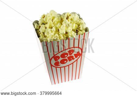 Popcorn In The Paper Pack Isolated On White Background