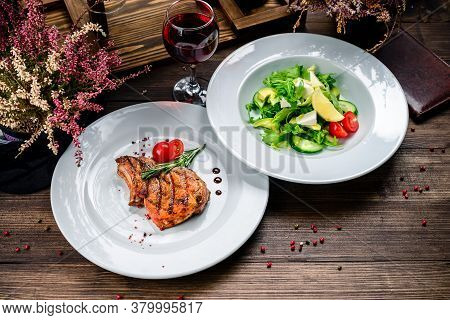 Restaurant Table Set Up For Two Main Dish Entre Steak Cuisine Fries Fine Dinning Wine Glass. Two Dis