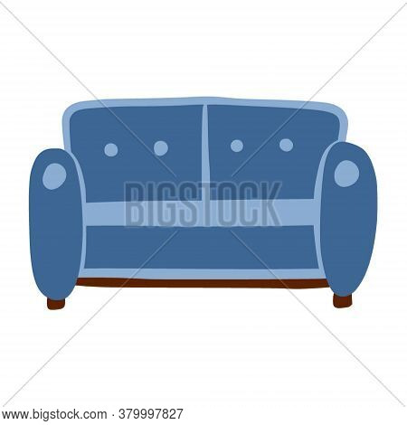 Sofa For Two. A Piece Of Furniture For Home And Comfort. A Simple, Cute Hand-drawn Drawing. Hygge, A