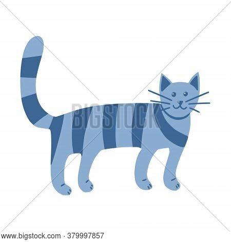 Strange Striped Cat In Doodle Style. The Pet Stands On All Fours. Animal. A Simple, Cute Hand-drawn