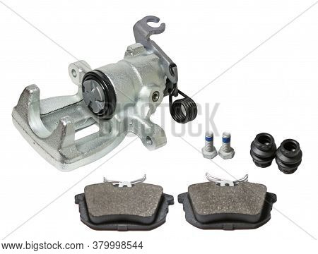 Car Brake Parts. Caliper And Brake Pads On White Background