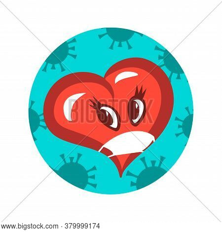 Symbolic Masked Heart And Coronavirus. Danger Of Kisses And Loving Hugs During A Pandemic. Vector Is