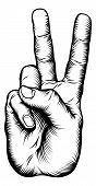 Illustration of a victory V salute or peace hand sign in a retro woodblock style poster