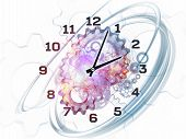 Abstract design made of gears clock elements dials and dynamic swirly lines on the subject of scheduling deadlines progress past present and future poster