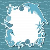 Seamless background with marine life, vector illustration poster
