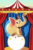 A vector illustration of an elephant standing on a ball in a circus poster