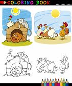 Coloring Book or Page Cartoon Illustration of Funny Farm and Companion Animals for Children Education poster