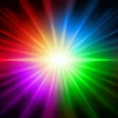 abstract rainbow colorful rays lights like star over black background poster