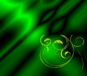 An emerald green background fractal with golden filigree. poster