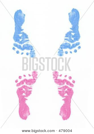 Pink And Blue Footprints