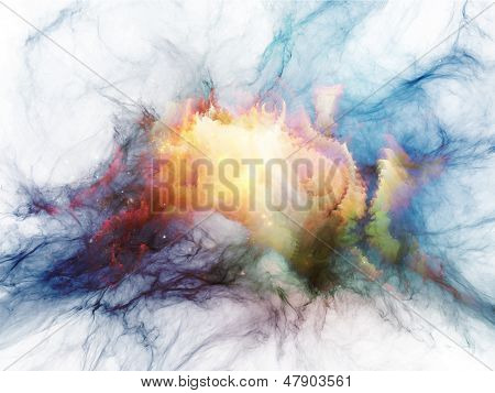 Creative arrangement of bursting strands of fractal smoke and paint as a concept metaphor on subject of design science technology and creativity poster