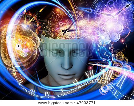 Background design of cutout of male head and symbolic elements on the subject of human mind consciousness imagination science and creativity poster