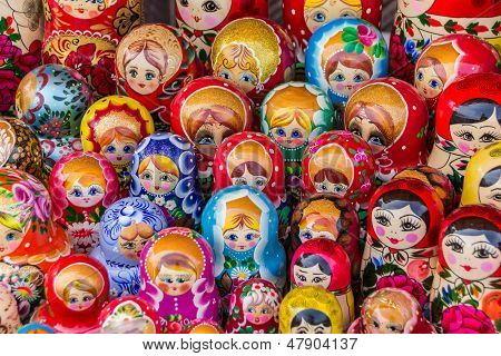 Colorful Russian Wooden Dolls