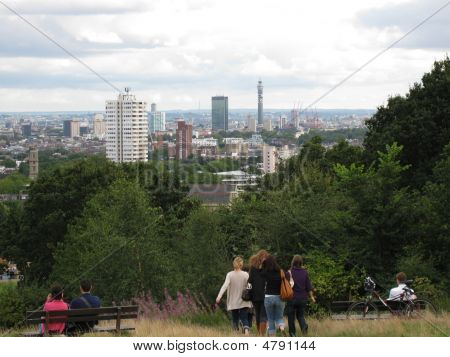 A view of London taken from Hampstead Heath Kite Hill poster