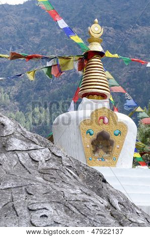 Small Tibetan Stupa In Nepal With Sacred Mani Stones