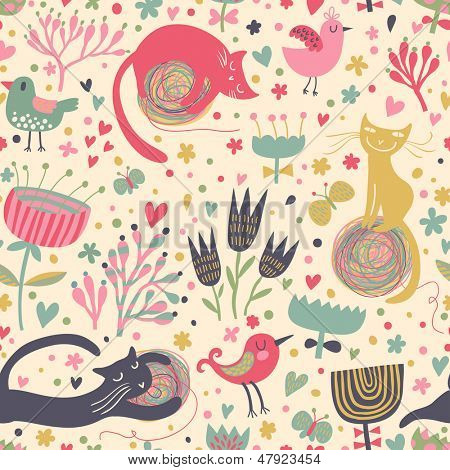 Cartoon cats and birds with butterflies in vector background. Seamless pattern can be used for wallpapers, pattern fills, web page backgrounds, surface textures. Gorgeous vector background