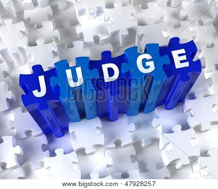 Creative 3D pieces of puzzle and word JUDGE