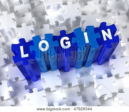 Creative 3D pieces of puzzle and word LOGIN