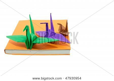 Origami Bird On Books Isolated And White Background