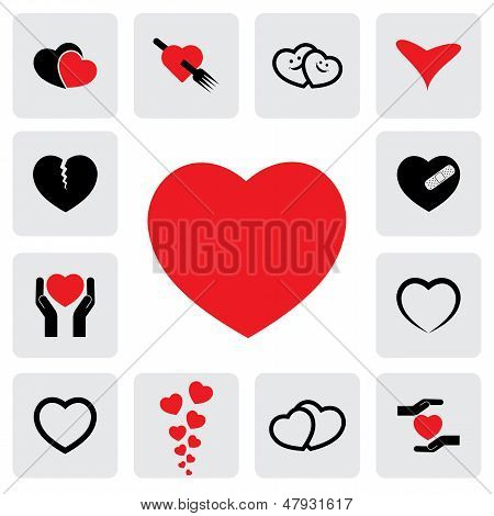 abstract heart icons(signs) for healing love happiness- vector graphic. This illustration represents concepts of passion platonic love break-up healing & protection of heart's health prevention poster
