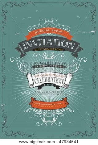 Vintage Invitation Poster Background
